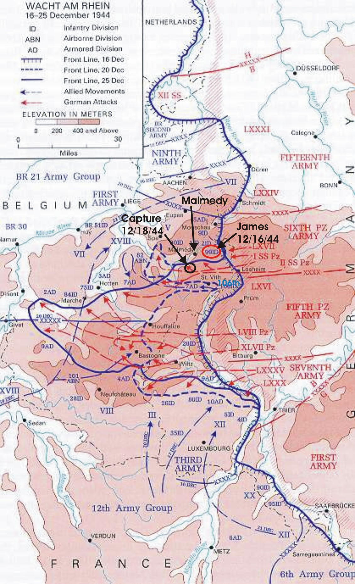 Map of the Battle of the Bulge, 16-25 December, 1944