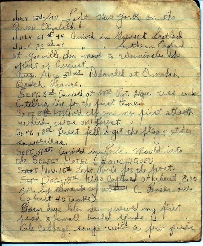 First page of a diary maintained by James L. Wynn during WWII