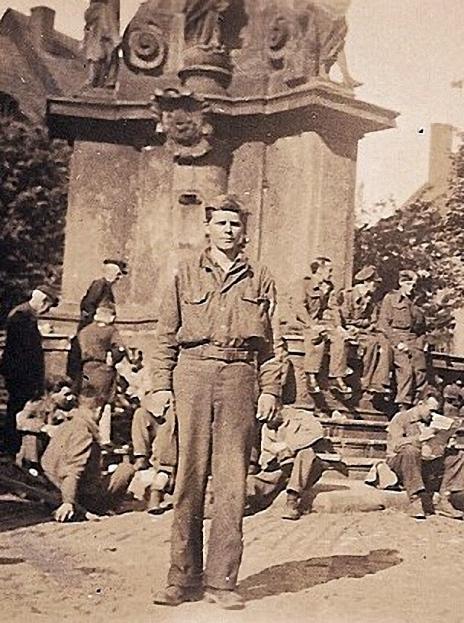 James L. Wynn, a just-released prisoner-of-war, in Lokat, Czech Republic, May 1945.